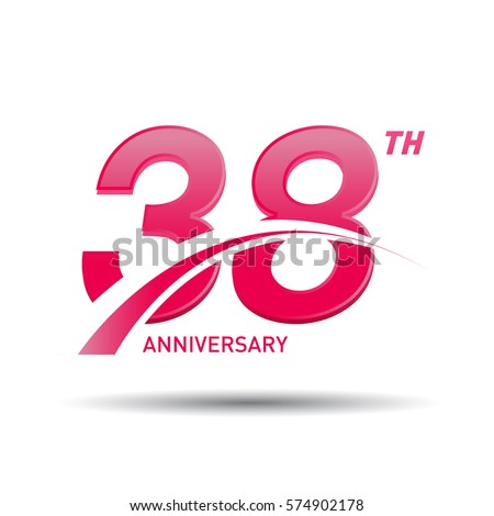 38 Years Pink Anniversary Business Coorporate Stock Vector 574902178