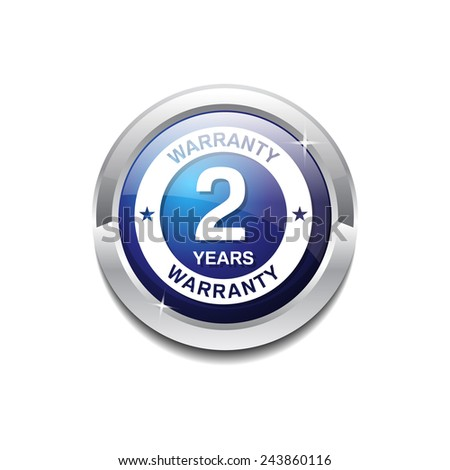 2 Years Warranty Blue Vector Icon Button - stock vector