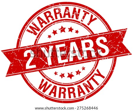 2 years warranty grunge retro red isolated ribbon stamp - stock vector