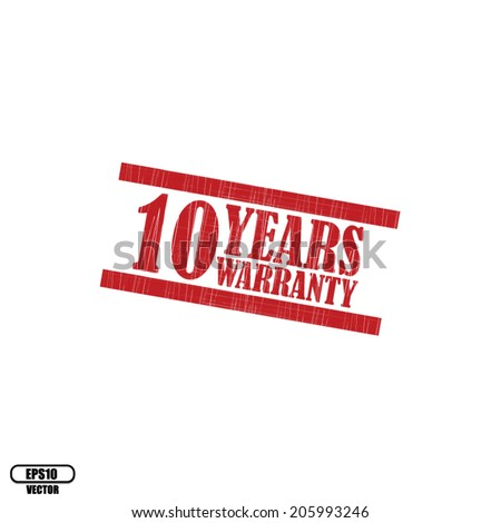 10 years warranty grunge rubber stamp on white background, Eps.10 - vector illustration. - stock vector