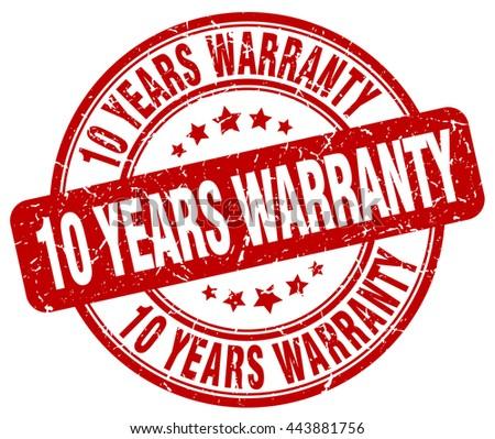10 years warranty red grunge round vintage rubber stamp.10 years warranty stamp.10 years warranty round stamp.10 years warranty grunge stamp.10 years warranty.10 years warranty vintage stamp. - stock vector