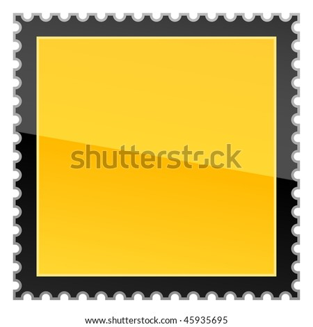 Yellow hazard warning blank postage stamp on a white background - stock vector