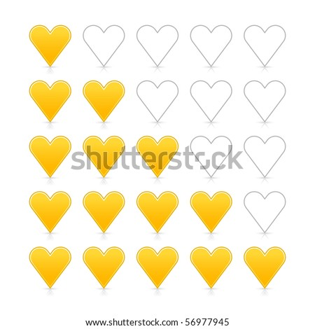 5 yellow heart ratings web 2.0 button. Satin smooth shapes with shadow and reflection on white - stock vector
