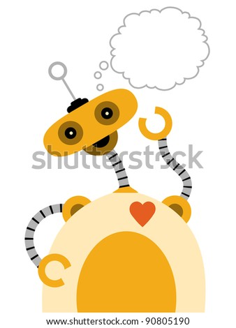 :Yellow Robot with Jiggly Arms Thinking - stock vector