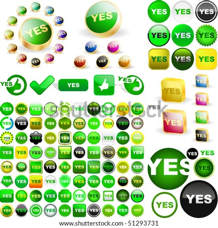 """YES"" button. Vector great collection."