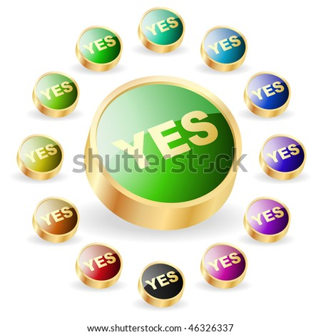 """YES"" button. Vector set."