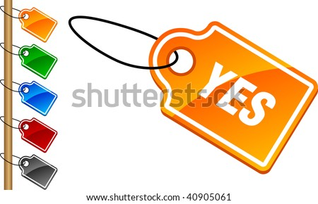 Yes tag set. Vector illustration.