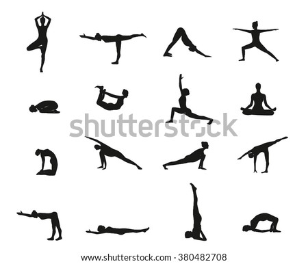 Yoga Poses Silhouette Black Stock Vector 380482708