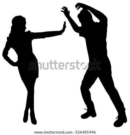 young couple arguing with each other over white background - stock vector