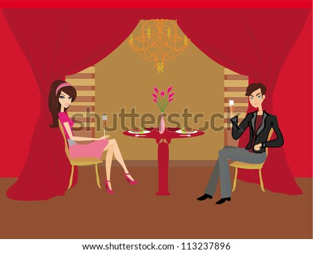 Young couple flirt and drink champagne - stock vector