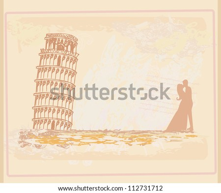 Young Couple of Tourists in Pisa - stock vector