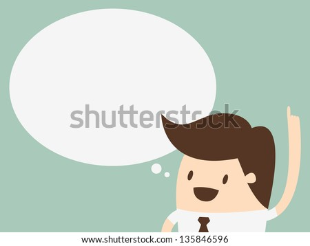 young man with a empty speech bubble over his head - stock vector