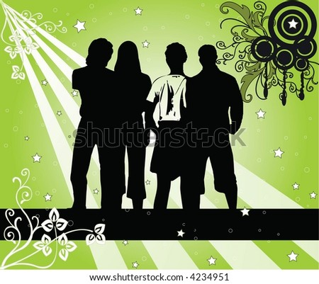 4 young people silhouettes - vector