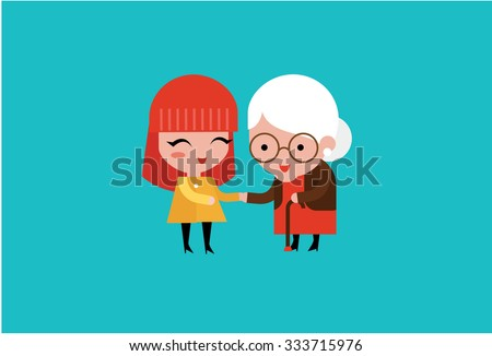 young volunteer woman caring for elderly woman  - stock vector