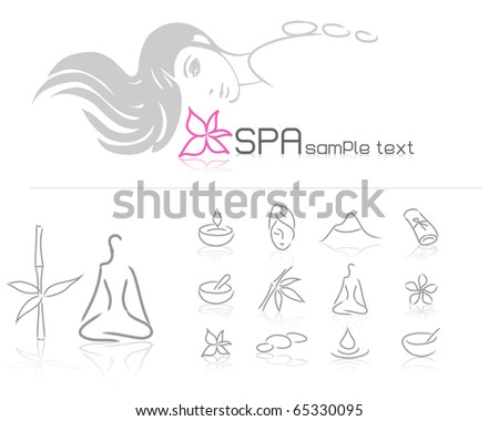 young woman spa and beauty treatment icons