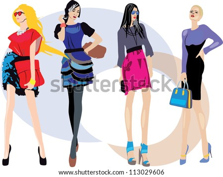 young women in beautiful clothes. fashion girls. - stock vector