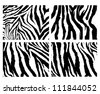 4 zebra pattern vector - stock vector