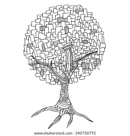 Zentangle pattern for coloring book. Hand-drawn decorative tree element in vector. - stock vector