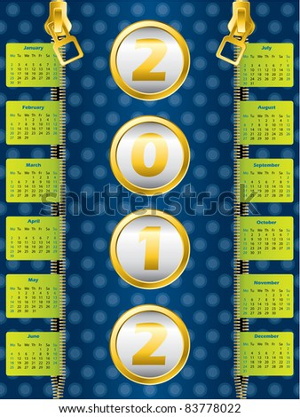 2012 zipper calendar on dotted blue background - stock vector