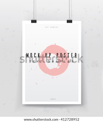 A4 / A3 format poster design with your text, minimal circle and colorful gradient background, paper clips and shadow Eps 10 stock vector illustration. mock up poster - stock vector