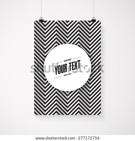 A4 / A3 format poster minimal abstract zig-zag design with your text, paper clips and shadow Eps 10 stock vector illustration  - stock vector