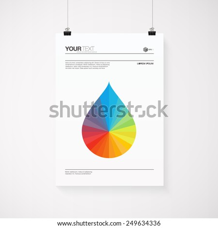 A4 / A3 format poster with minimal abstract rainbow drop design with your text, paper clips and shadow  Eps 10 stock vector illustration  - stock vector