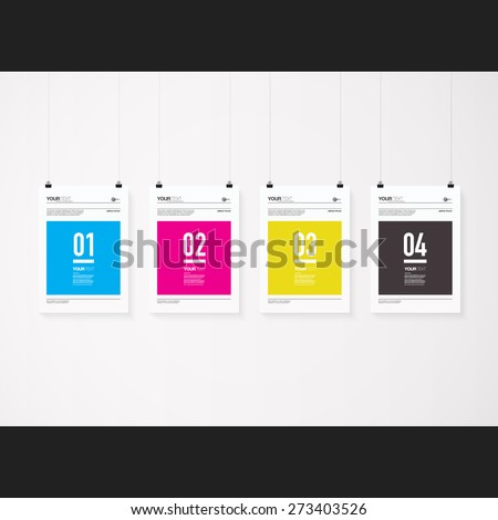 A4 / A3 format posters minimal abstract CMYK design with your text, numbers, paper clips and shadow Eps 10 stock vector illustration  - stock vector