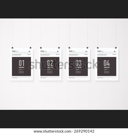 A4 / A3 format posters minimal abstract design with your text, numbers, paper clips and shadow Eps 10 stock vector illustration  - stock vector