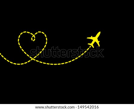 A Airplane flying in a dark black sky leaving behind a love shaped smoke trail - stock vector