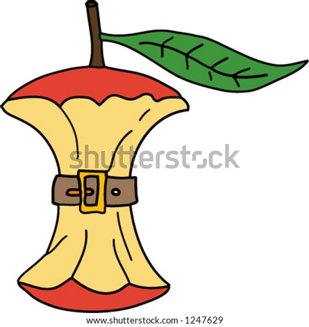 A apple with a belt around it - stock vector