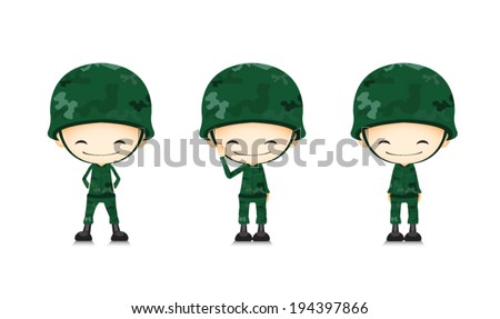 A army soldier cartoon - stock vector