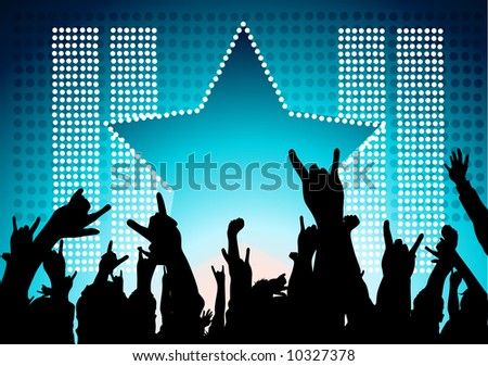 A audience at a concept show their support! - stock vector