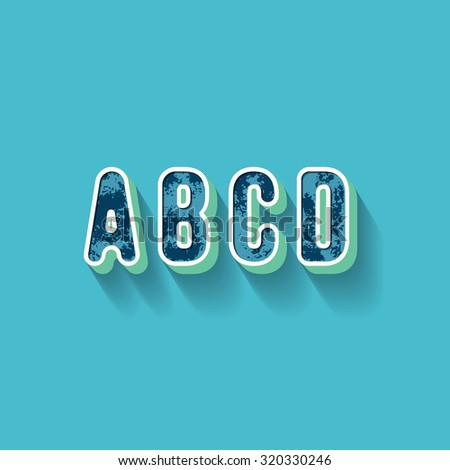 A B C D - 3D Plastique Alphabet - Typography with grunge blue texture and long shadow effect - Vector Illustration - Graphic resource - stock vector