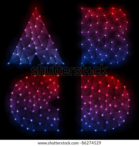 A,B,C,D Letters Of Neon Light Alphabet - stock vector