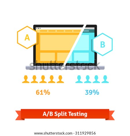 A/B split testing. Laptop screen showing two versions of a webpage with different statistical distribution of positive feedback. Flat style vector illustration isolated on white background. - stock vector