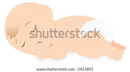 A baby sleeping with putting his thumb into his mouth - stock vector