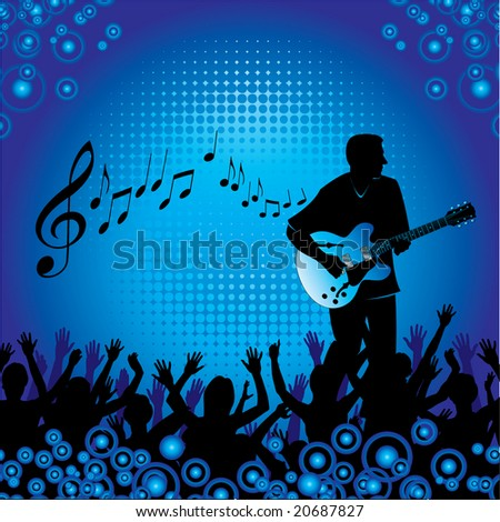 A background with people at a concert enjoying themselves listening to a guitar player - stock vector