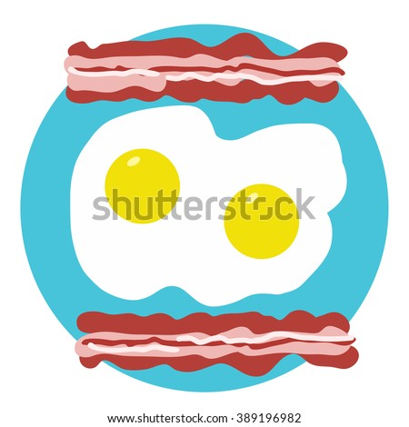 A bacon and eggs breakfast on a plate,  forming of a smiley face.