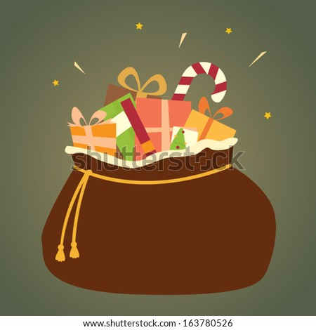 A bag full of colorful Christmas presents, all wrapped up and ready for giving! - stock vector