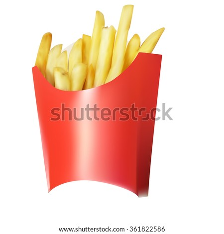 a bag of French fries paper, vector