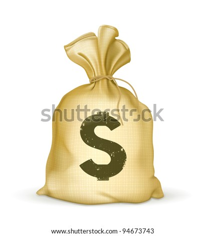A bag of money vector icon. Money object isolated on white background. Money bag vector illustration. Business and finance icon. Old bag with money. Dollar sign - stock vector