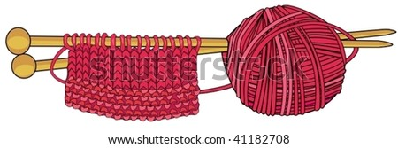 A ball of wool with needles - stock vector