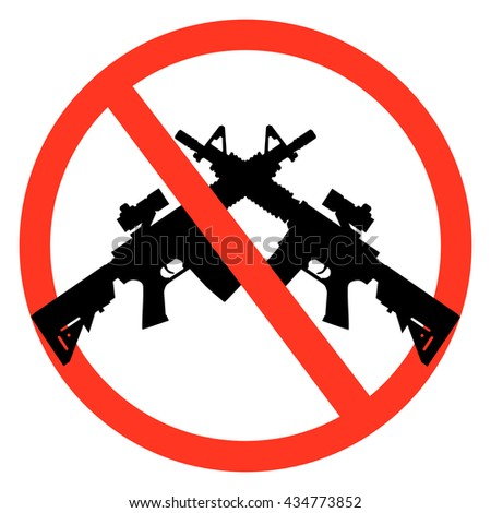 a ban on weapons no weapons - stock vector