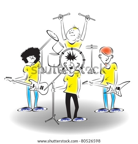 A band on stage - stock vector