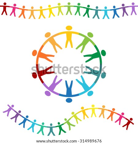 A banner set of rainbow colored people holding hands.
