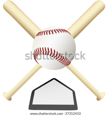 A Baseball Emblem crossed bats over home plate ready for college or major leagues spring training to the world series. - stock vector