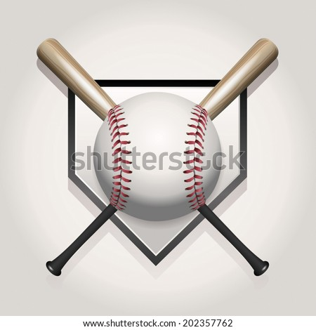 A baseball illustration made for a ball and two crossed bats over home plate. Vector EPS contains transparencies and gradient mesh. - stock vector