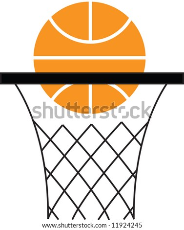 a basketball and hoop - stock vector