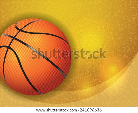 A basketball on a gold textured background. Vector EPS 10. EPS file contains transparencies. - stock vector