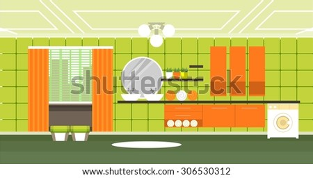 a bathroom with toiletries and furnishings in the flat style and retro colors - stock vector